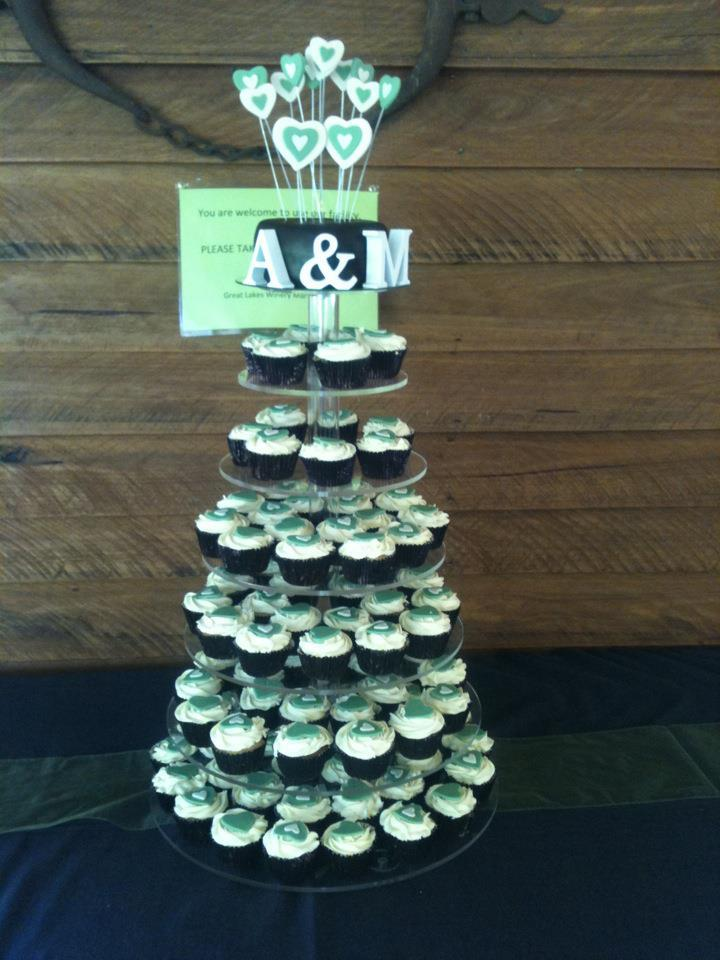 Erin's Wedding Cake and Cupcake Tower