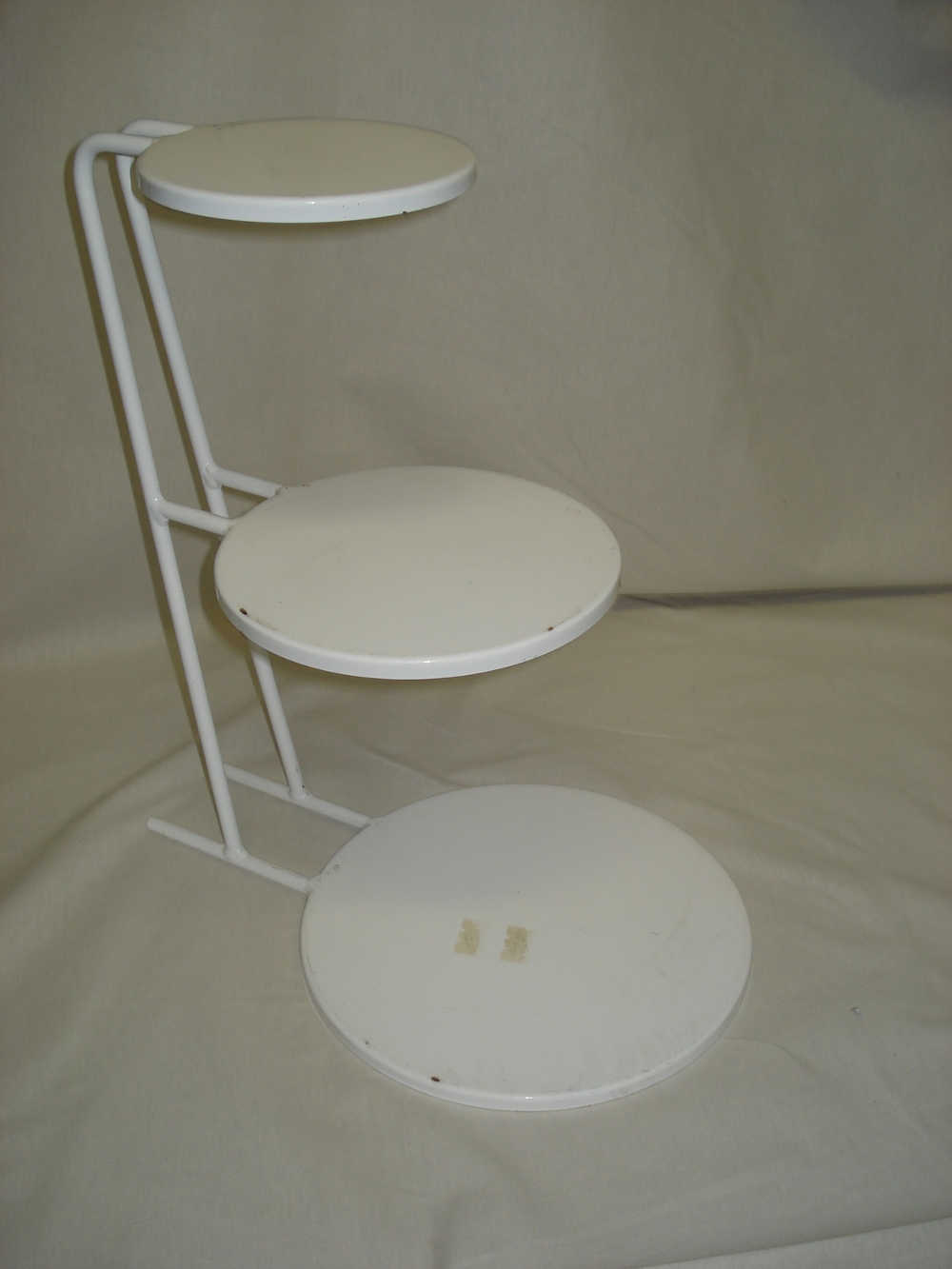3 Tier Sloping White Metal Cake Stand