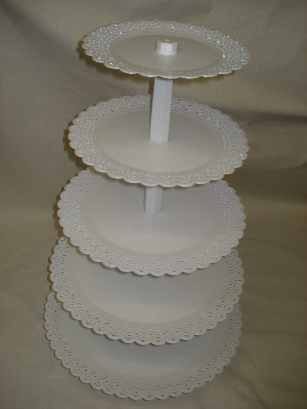 5 Tier Round Cupcake Stand with Lacy Edges