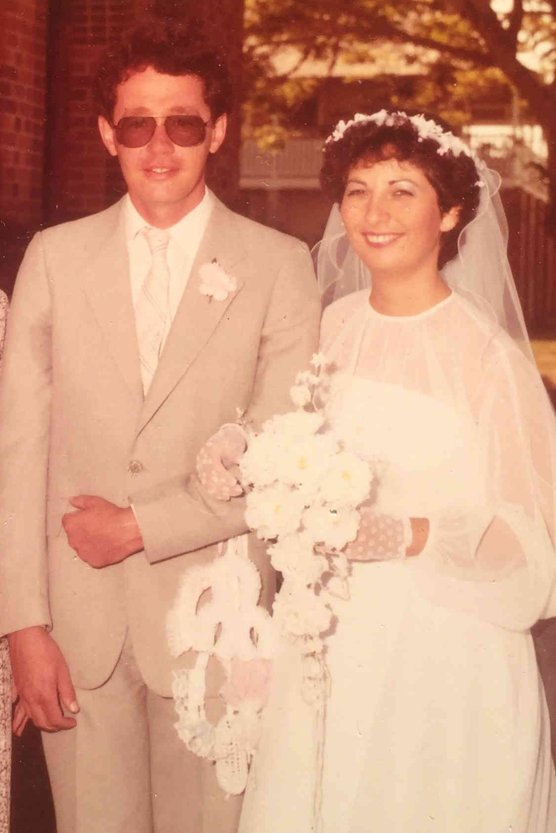 Jon and Lucy Dillon at their wedding in 1983